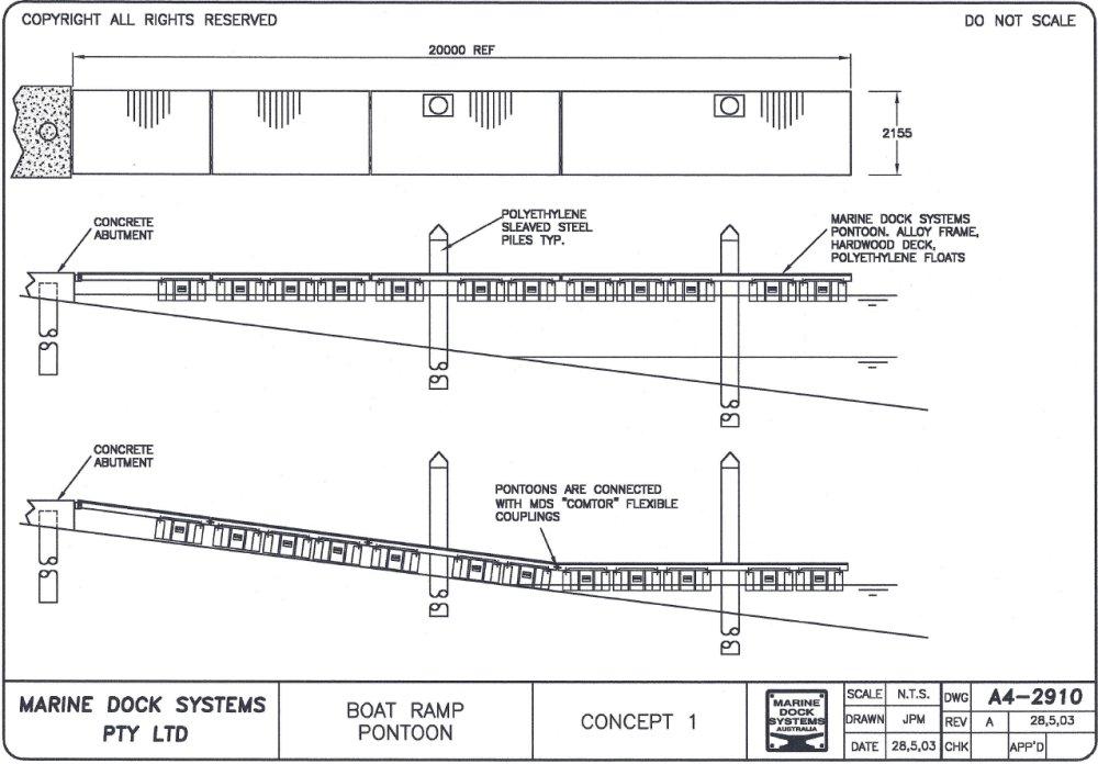 Floating Boat Ramp Pontoons MDS Marine Dock Systems Floating Boat Ramp Pontoons. Dynaplas ...